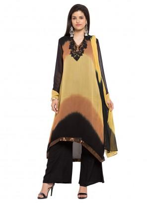 Brown Faux Georgette Readymade Salwar Kameez
