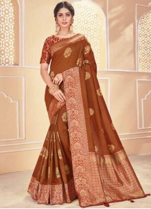 Brown Festival Banarasi Silk Traditional Saree