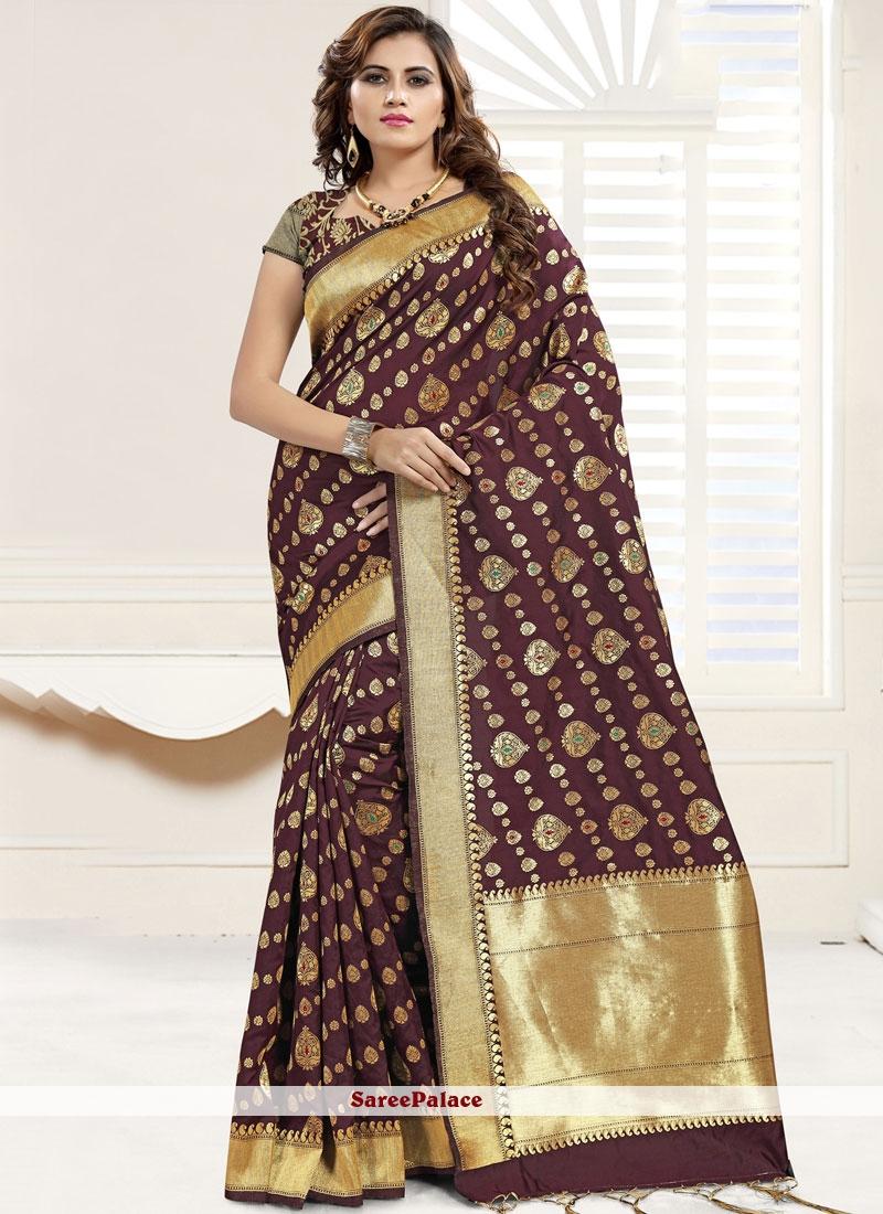 Brown Festival Banarasi Silk Trendy Saree