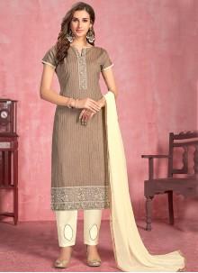 Brown Festival Cotton Salwar Suit