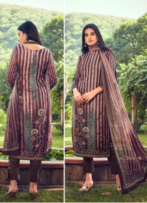 Brown Festival Pashmina Designer Straight Suit