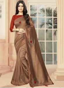 Brown Festival Silk Designer Saree