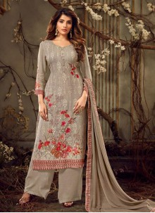 Brown Georgette Ceremonial Palazzo Suit
