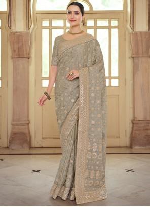 Brown Georgette Satin Reception Bollywood Saree