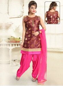 Brown Handwork Punjabi Suit