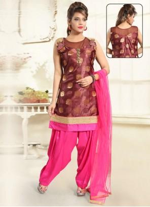 Brown Handwork Punjabi Suit