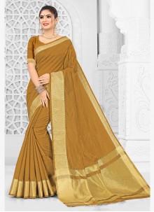 Brown Mehndi Trendy Saree