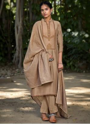 Brown Muslin Embroidered Designer Pakistani Suit