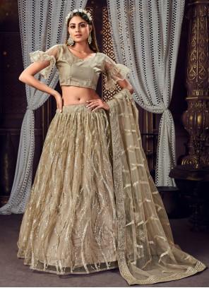 Brown Net Engagement Bollywood Lehenga Choli