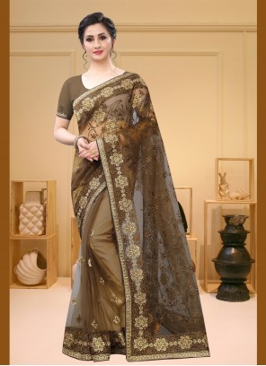 Brown Net Festival Traditional Saree