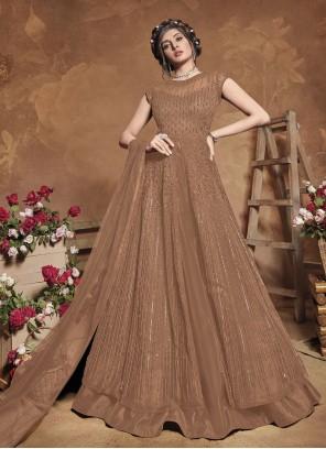 Brown Net Floor Length Anarkali Suit