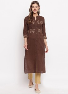 Brown Party Cotton Casual Kurti