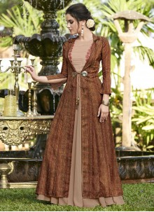 Brown Party Designer Gown