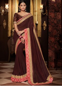 Brown Party Designer Traditional Saree