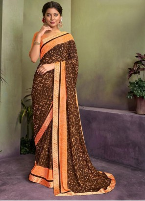 Brown Party Georgette Classic Saree