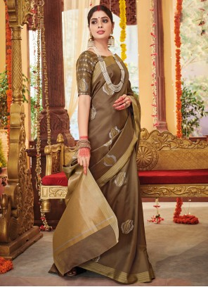 Brown Party Silk Contemporary Saree