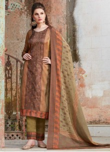 Brown Party Tussar Silk Pant Style Suit