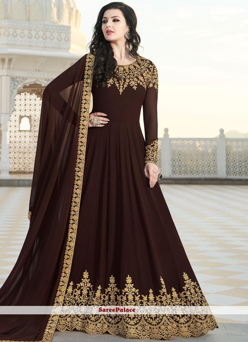 Brown Patch Border Floor Length Anarkali Suit