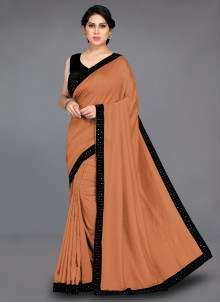Brown Patch Border Traditional Saree