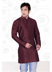 Brown Plain Art Dupion Silk Kurta