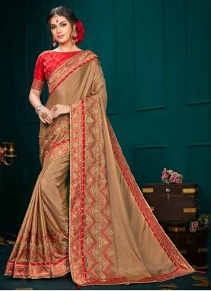 Brown Poly Silk Festival Classic Designer Saree