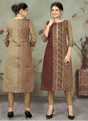 Brown Print Chanderi Designer Kurti