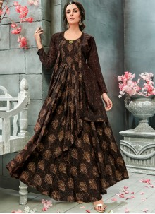Brown Print Faux Georgette Readymade Gown