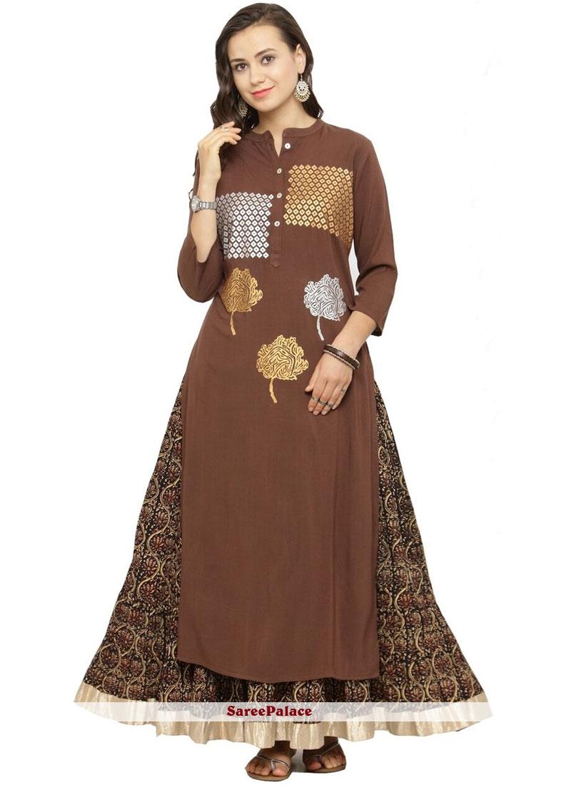 Brown Print Rayon Party Wear Kurti