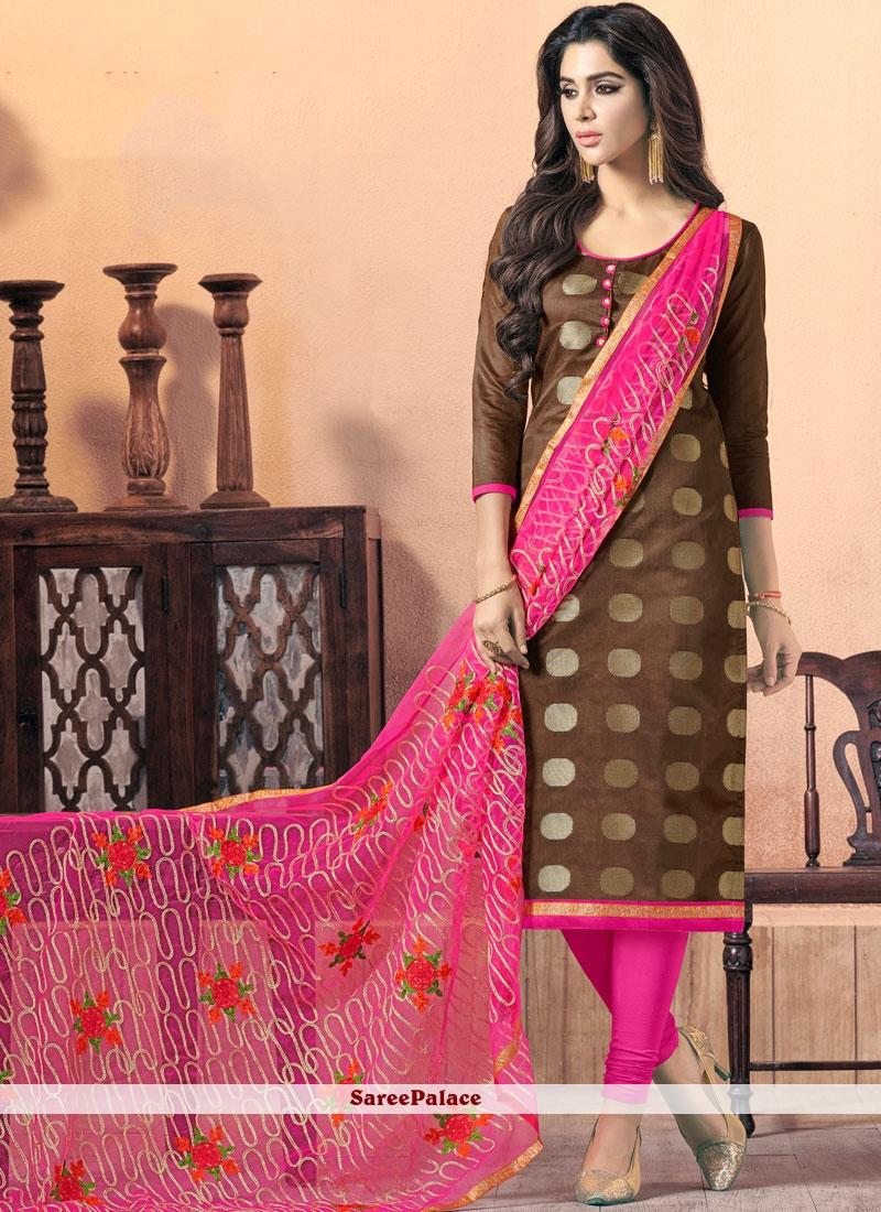 Brown Print Work Churidar Suit