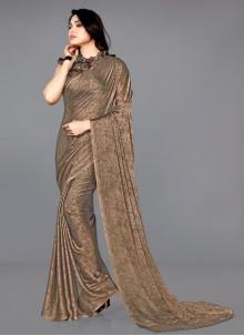 Brown Printed Casual Traditional Saree