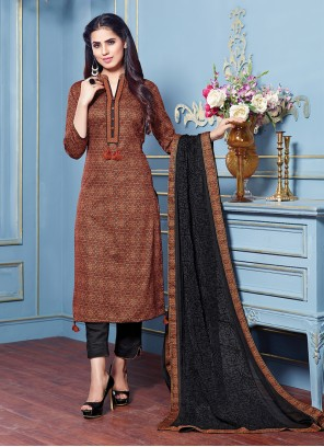 Brown Printed Ceremonial Pant Style Suit