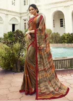 Brown Printed Designer Saree