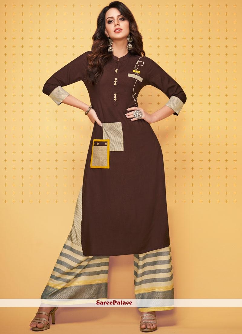 Brown Rayon Party Wear Kurti