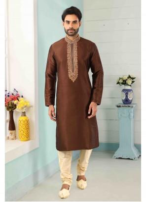 Brown Reception Art Banarasi Silk Kurta Pyjama