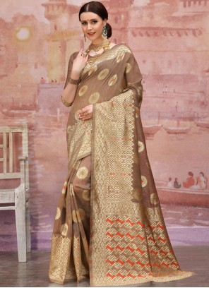 Brown Reception Designer Traditional Saree