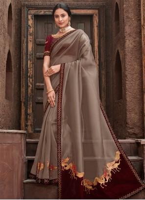 Brown Reception Silk Classic Saree