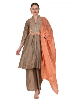 Brown Resham Cotton Designer Suit