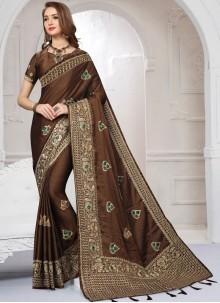 Brown Resham Satin Silk Classic Saree