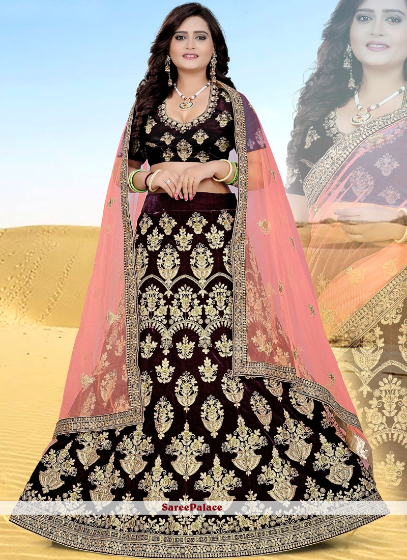 4681849307 Buy Brown Resham Velvet Lehenga Choli Online