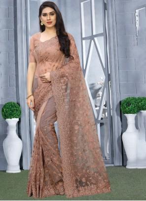 Brown Resham Wedding Classic Designer Saree