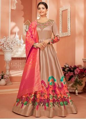 Brown Satin Silk Desinger Anarkali Salwar Suit