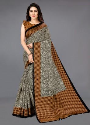 Brown Silk Printed Saree For Casual