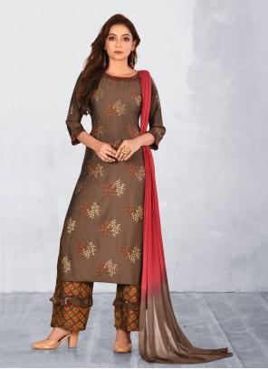 Brown Silk Festival Bollywood Salwar Kameez