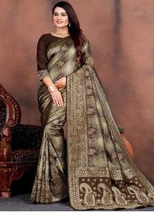 Brown Silk Party Trendy Saree