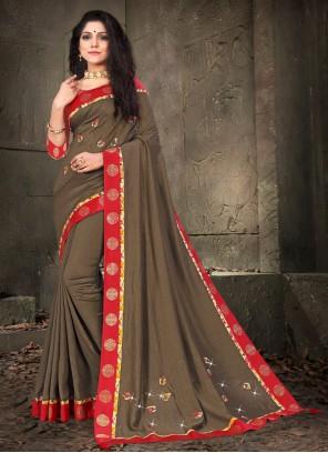 Brown Silk Traditional Designer Saree