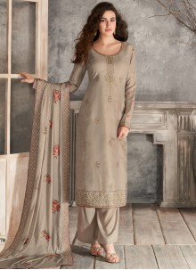 Brown Silk Trendy Salwar Suit