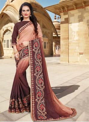 Brown Silk Zari Classic Saree