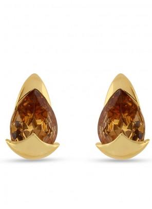 Brown Stone Work Mehndi Ear Rings