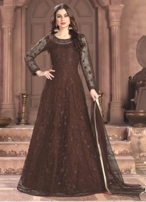 Brown Thread Net Trendy Salwar Suit