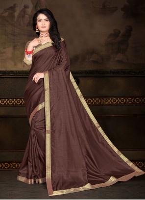 Brown Vichitra Silk Classic Saree